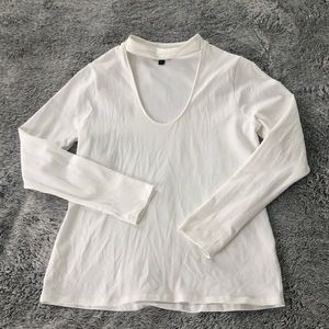 Long sleeve top with front cut out